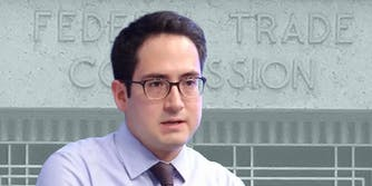 Alvaro Bedoya in front of Federal Trade Comission background