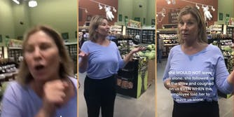 anti-masker karen coughs on shoppers viral tiktok video shared by michael rapoport