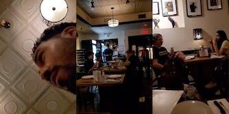 anti-vaxxer looking up, fellow restaurant goers
