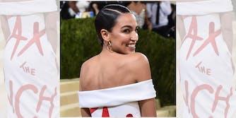 "Alexandria Ocasio-Cortez wearing ""Tax the rich"" dress at Met gala"