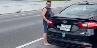 In a TikTok, a Lyft driver throws a suitcase at her passenger after she demands he get out of the car.