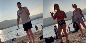 man at beach (l) women at beach (r)