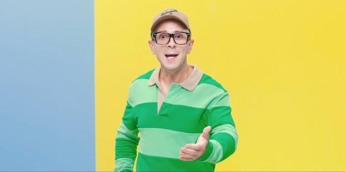 man wearing green striped shirt