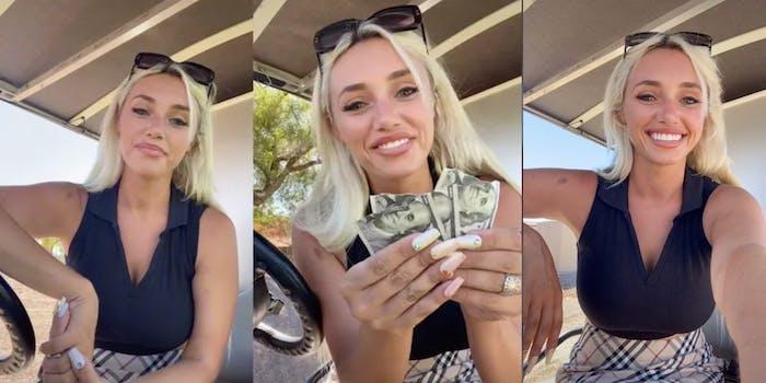 cass holland holding up 3 ripped up $100 bills