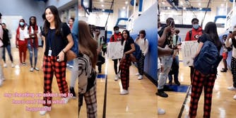 """young woman walking up to young man holding sign in gym with caption """"my cheating ex asked me to hoco and this is what happened"""""""