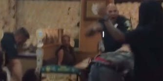 In a TikTok, a cop is seen pushing customers down to the ground in an IHOP.