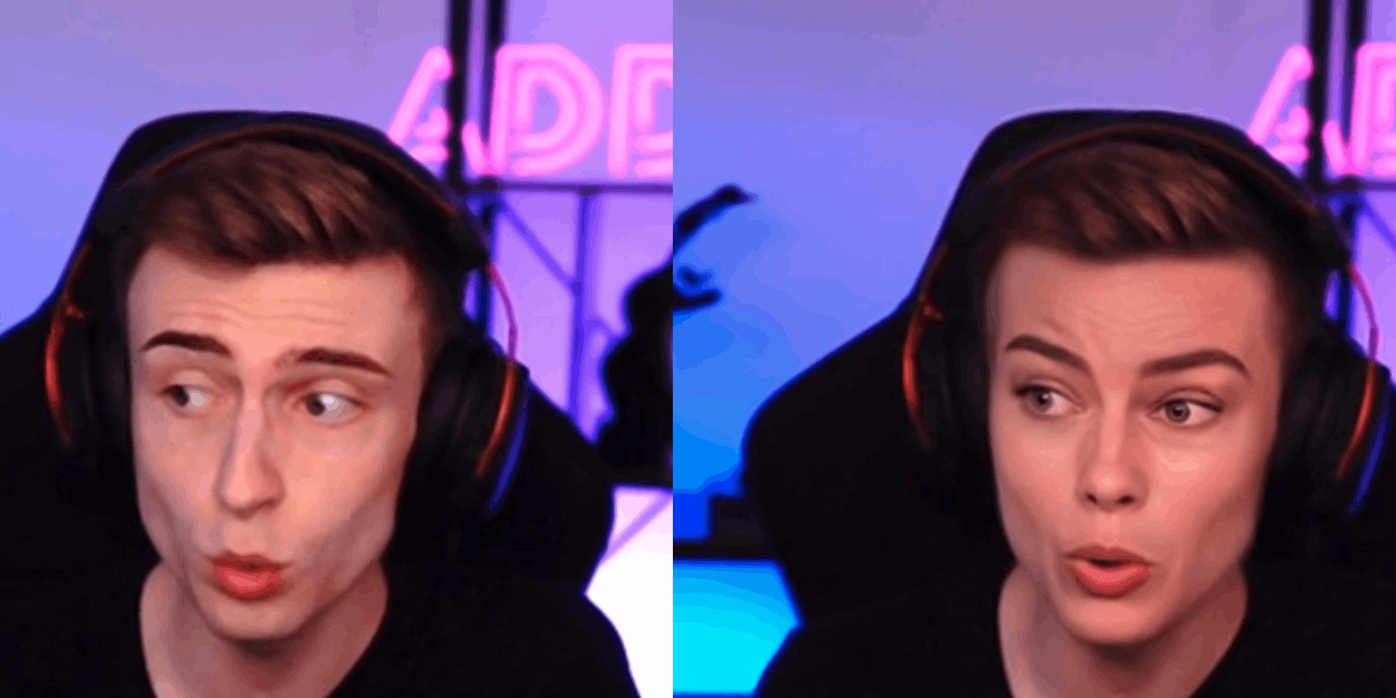 A live streamer using a deepfake tool