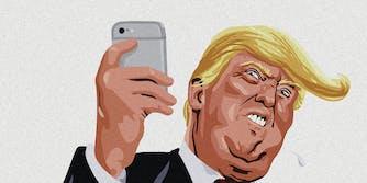 A cartoon of Donald Trump with a phone.