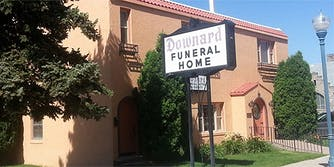 Downard Funeral Home sign outside building