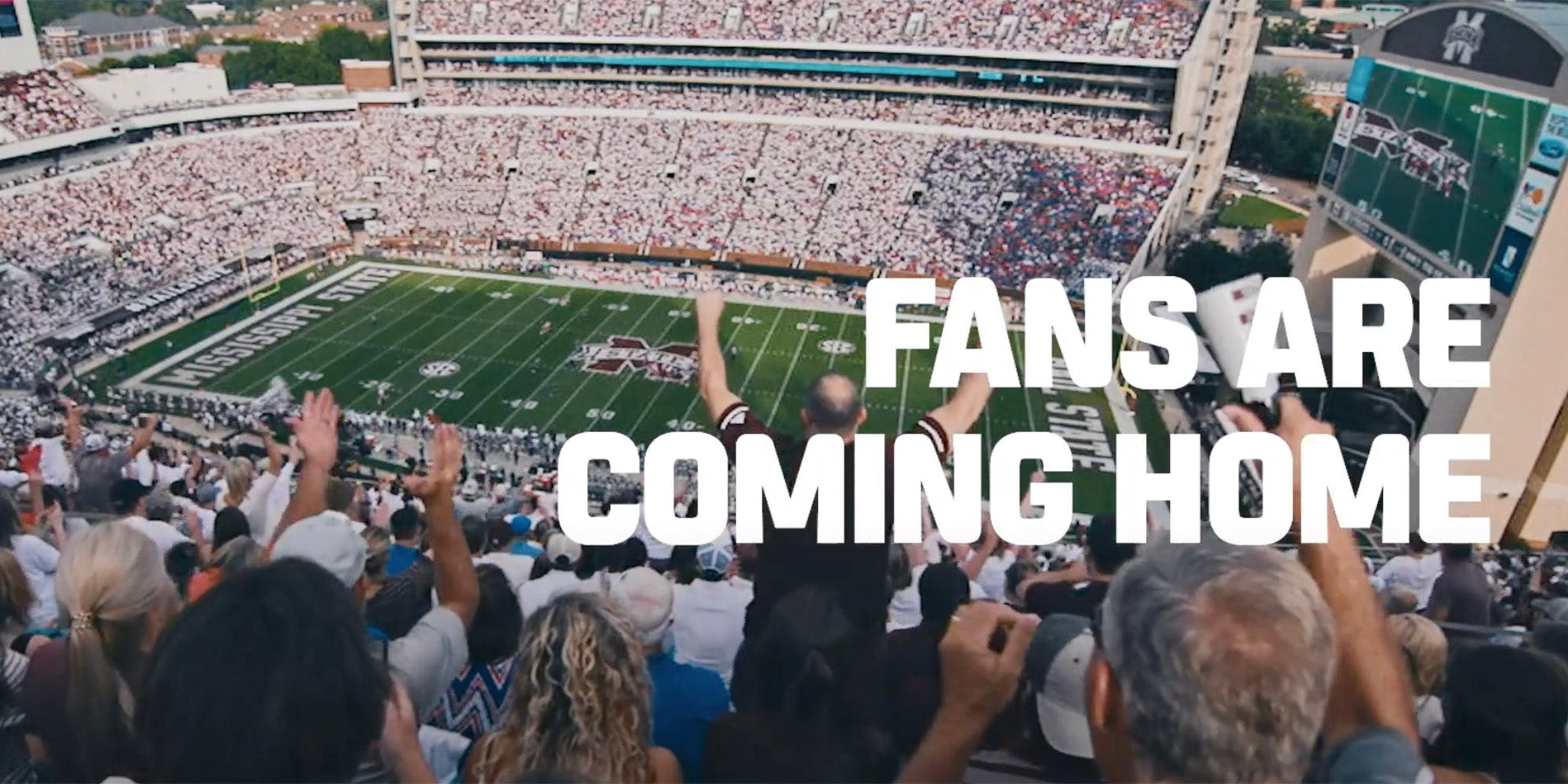 """espn college football poster showing fans cheering in a stadium with the words """"Fans are coming home"""""""