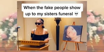 """young woman wearing sunglasses, pointing finger with caption """"When the fake people show up to my sisters funeral"""""""