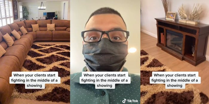 """living room couch and carpet (l) surprised man in mask (c) wooden desk (r) all with caption """"When your clients start fighting in the middle of a showing"""""""