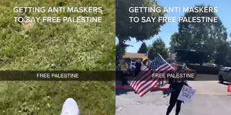 """sneaker on grass with caption """"Getting anti maskers to say free Palestine"""" (l) person with flag and sign"""