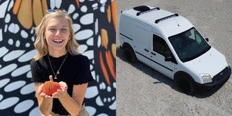 gabby petito holding knitted pumpkin (l) white van on sand (r)