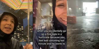 """woman goes out into storm with umbrella, """"when you accidentally go on a first date in a hurricane because you feel bad canceling last minute and he wants to go, remnants of hurricane ida"""