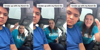 """woman trying to attack man with car keys with caption """"I broke up with my Karen Ex"""""""