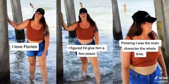 """woman posing under pier with captions """"I love Florida"""" (L) """"I figured I'd give him a few poses"""" (C) and """"Thinking I was the main character the whole time."""" (R)"""