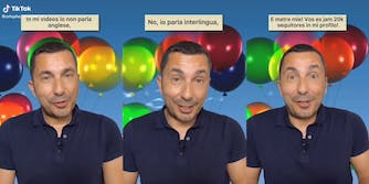 """man in front of balloons speaking """"interlingua"""""""