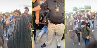 Kids at a rally (L), cops arresting a kid (C), and kids marching together (R).