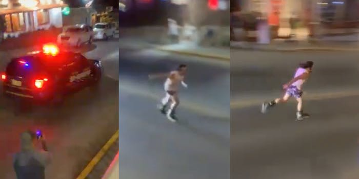 man roller skating away from cop car
