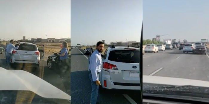 man yelling at woman post-car crash, man caught by tiktoker, man seemingly driving into woman