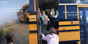 """girl waiting for bus with caption """"This bus driver makes my kids cry every day"""" (l) bus driver pointing finger (c) bus driving away with driver gesturing and caption """"oh hell nahhh did she flip me off"""""""