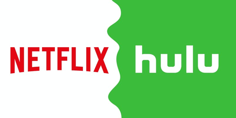 logos for netflix (left) and hulu (right)