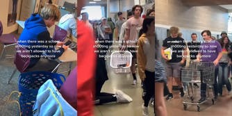 """students at desk and carry laundry baskets (left and center) student pushing a shopping cart through a school hallway (r) all with caption """"when there was a school shooting yesterday so now we aren't allowed to have backpacks anymore"""""""