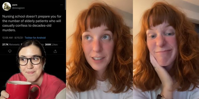 """young woman with cup of coffee and tweet """"Nursing school doesn't prepare you for the number of elderly patients who will casually confess to decades-old murders."""" (l) young woman looking off camera (c) young woman grimacing (r)"""