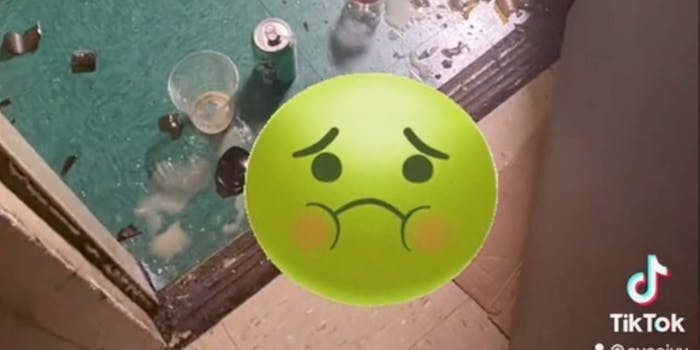 In a TikTok, a man is seen peeing and throwing trash at a woman's apartment door.