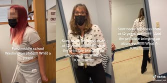 """young woman with caption """"Ford middle school Washington state!!!! What a joke!!!"""" (l) woman in mask (c) woman walking out of room with caption """"Sent home for dress code at 12 years old!!!! And the principle bringing up attorneys!!! What aA JOKE!!!!"""""""