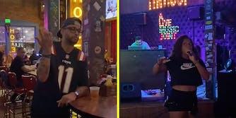 A man in a bar (L) and a woman singing in a bar (R).