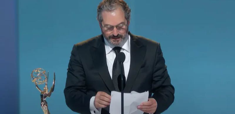 Scott Frank accepting an Emmy