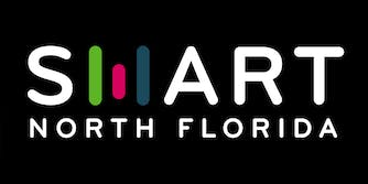 """SMART NORTH FLORIDA with stylized """"M"""" made of three upright bars that resemble an """"H"""""""