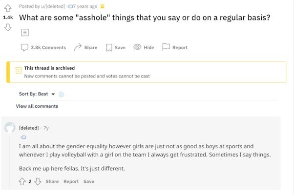 "A screenshot of a simu liu askreddit post saying, ""girls are just not as good as boys at sports."""