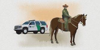 A cartoon of US border patrol agent on a horse.