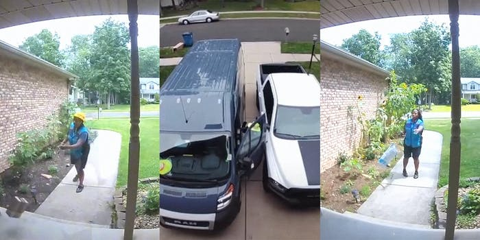 amazon delivery driver throws package (l&r) amazon driver hits truck with door (c)