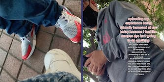Two people's feet (L) and a guy in a hoodie (R).