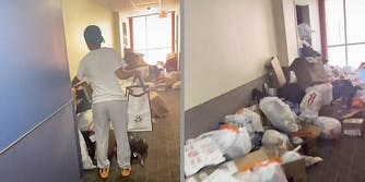 A woman in a hallway (L) and trash piled up in a hallway (R).