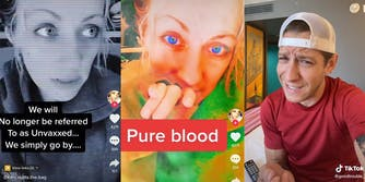 """woman with caption """"We will No longer be referred To as Unvaxxed... We simply go by..."""" (l) woman with caption """"Pure blood"""" (c) dismayed man (r)"""