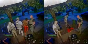 police punch handcuffed man in the face (l) police drag handcuffed man across the ground after he's fallen from being punched in the face