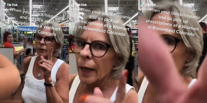"""woman pointing her finger at camera and grabbing phone with caption """"When you black/hispanic and go pick up prescriptions at a Walmart in Broomfield Colorado"""""""