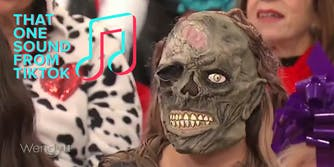 person in a zombie mask