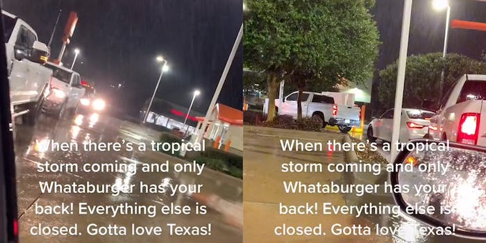 """Whataburger drive-thru filled with vehicles during tropical storm with caption """"When there's a tropical storm coming and only Whataburger has your back! Everything else is closed. Gotta love Texas!"""""""