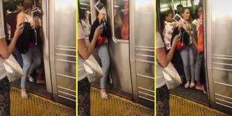 A woman pushing herself onto a subway car.