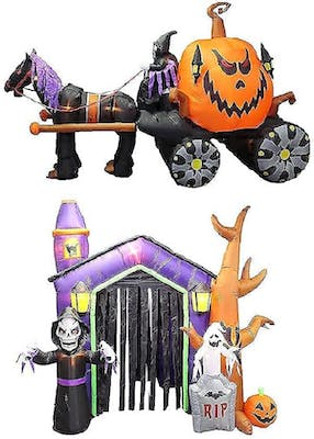 Huge inflatable pumpkin carrage being pulled by a horse and a huge inflatable haunted house with two ghosts