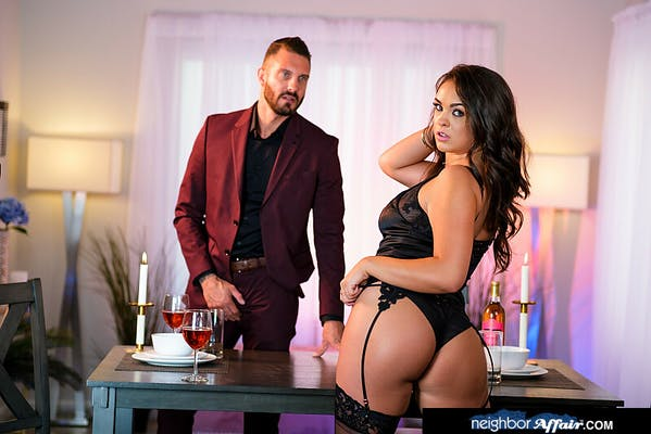 Neighbor Affair review - Nicole Sage standing in front of Quinton James in his office
