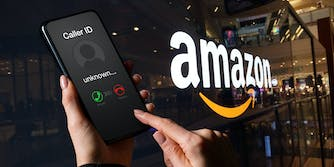 An Amazon logo in the background next to someone getting a scam call.