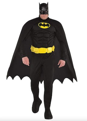 Batman costume in all black head to toe with yellow accents