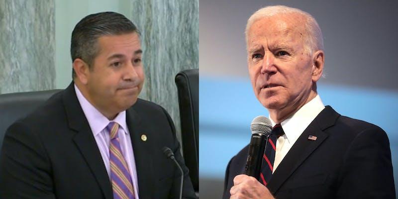A side by side of Sen. Ben Ray Luján and President Joe Biden